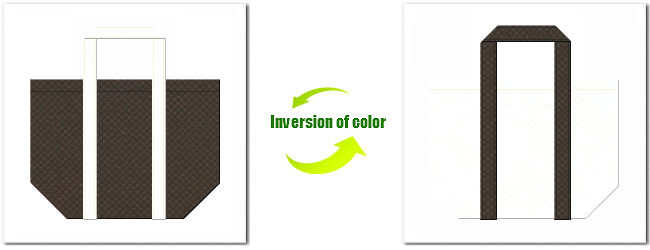 不織布No.40ダークコーヒーブラウンと不織布No.12オフホワイトの組み合わせのショッピングバッグ