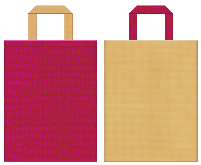 不織布バッグの印刷ロゴ背景レイヤー用デザイン:濃いピンク色と薄黄土色のコーディネート:カジュアル衣料の販促イベントにお奨めの配色です。