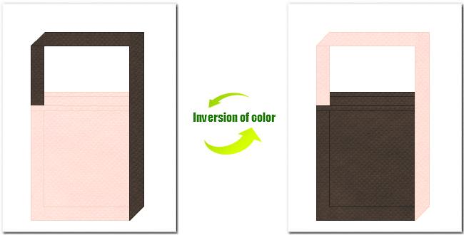 桜色とこげ茶色の不織布ショルダーバッグのデザイン