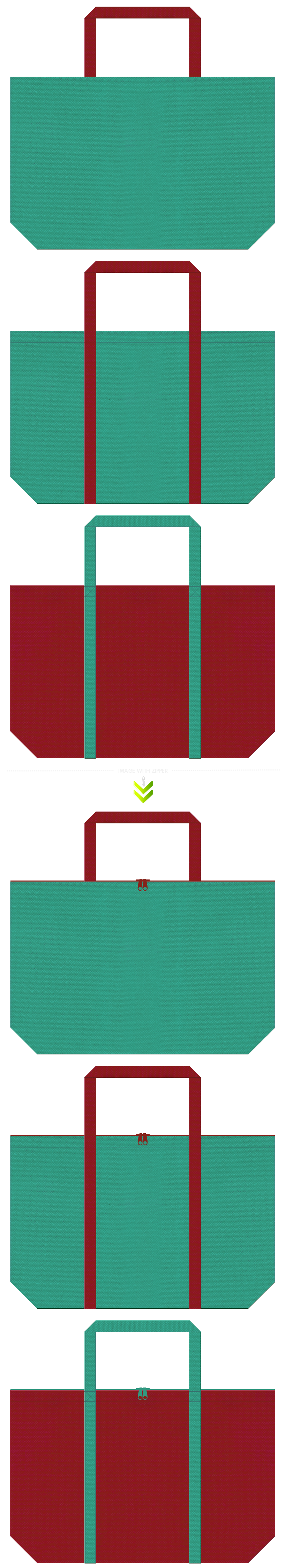 青緑色とエンジ色の不織布エコバッグのデザイン。振袖風。