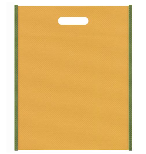 和風柄にお奨めの不織布小判抜き袋デザイン:メインカラー黄土色、サブカラー草色