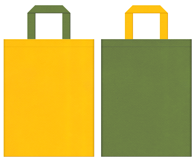 栗・宇治抹茶・スイーツ・和菓子のショッピングバッグにお奨めの不織布バッグデザイン:黄色と草色のコーディネート