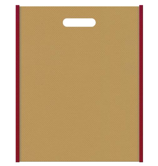 和風柄にお奨めの不織布小判抜き袋デザイン:メインカラー金色系黄土色、サブカラーエンジ色