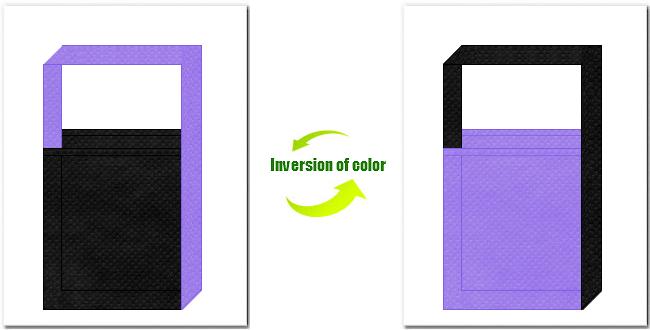 黒色と薄紫色の不織布ショルダーバッグのデザイン:スポーツイベントのノベルティにお奨めの配色です。