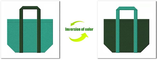 不織布No.31ライムグリーンと不織布No.27ダークグリーンの組み合わせのエコバッグ
