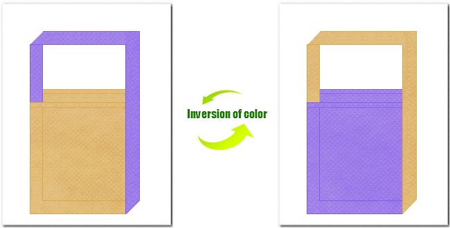 薄黄土色と薄紫色の不織布ショルダーバッグのデザイン