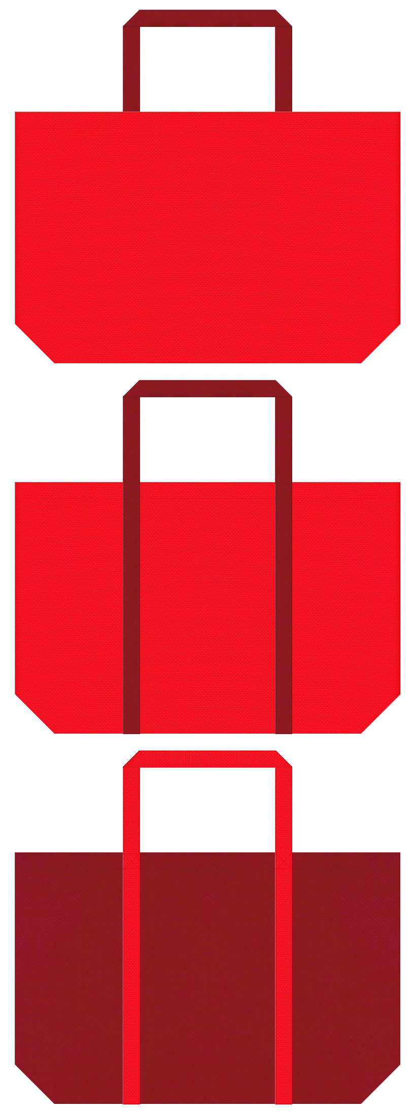 赤色とエンジ色の不織布ショッピングバッグデザイン。クリスマスのショッピングバッグにお奨めです。