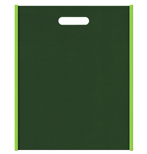 ジャングル・植物イメージにお奨めの不織布バッグ小判抜き配色デザイン:メインカラー濃緑色とサブカラー黄緑色