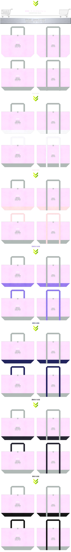 パステルピンク色とグレー色をメインに使用した、ガーリーデザインの不織布ショッピングバッグのカラーシミュレーション:事務服・ワーキングユニフォームのショッピングバッグにお奨めです。