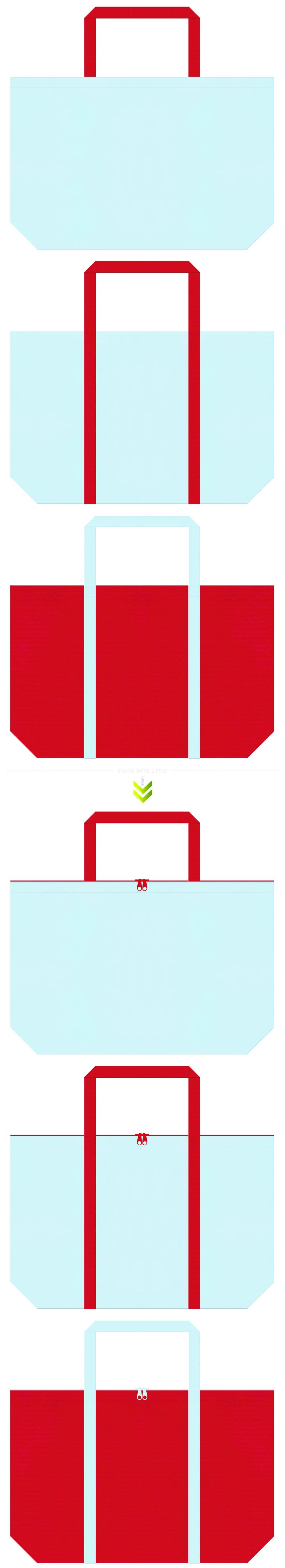 水色と紅色の不織布エコバッグのデザイン。