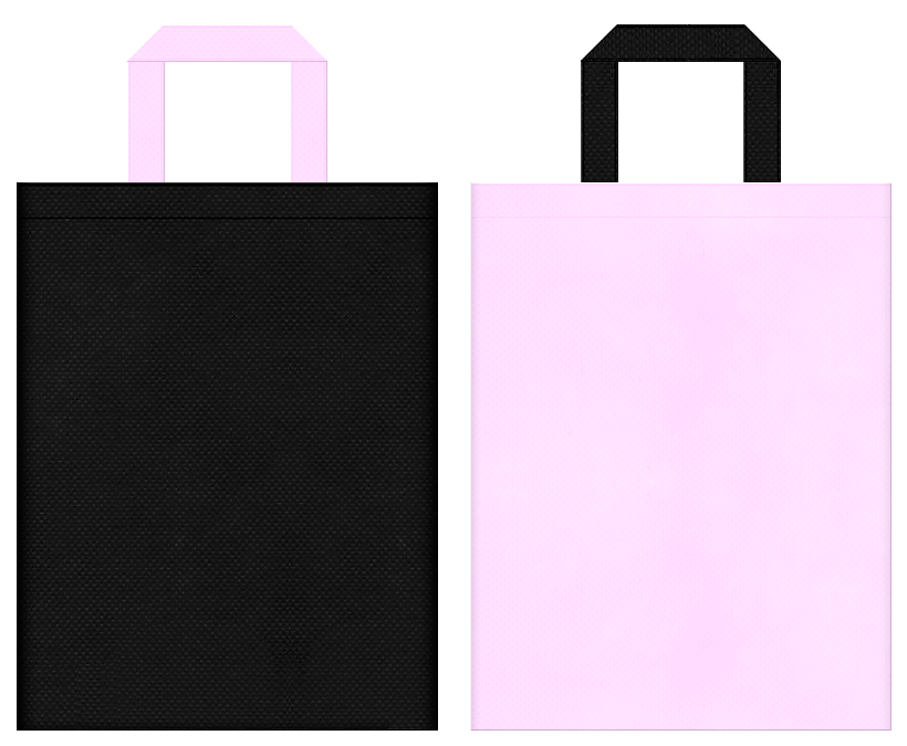 猫・フラミンゴ・バタフライ・占い・魔女・魔法使い・香水・ネイル・ウィッグ・コスプレイベントにお奨めの不織布バッグデザイン:黒色と明るいピンク色のコーディネート