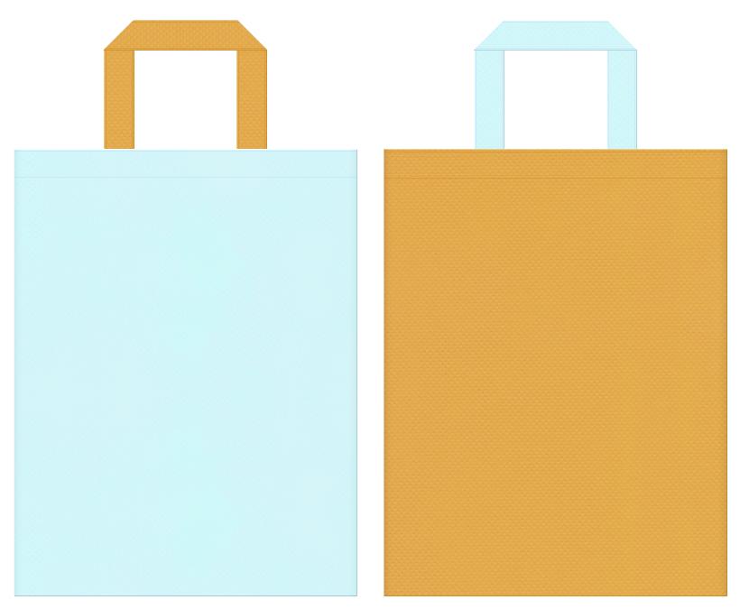 湖・ベアー・ポニー・絵本・おとぎ話・ロールプレイングゲーム・ガーリーデザインの不織布バッグにお奨め:水色と黄土色のコーディネート
