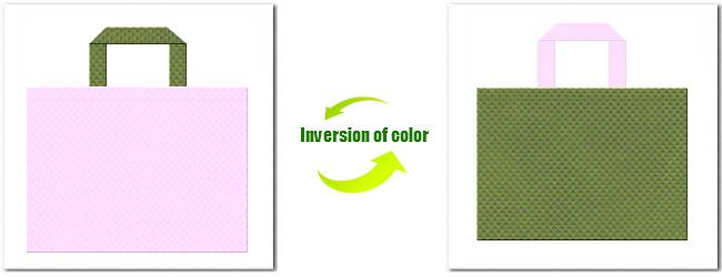 不織布No.37ライトパープルと不織布No.34グラスグリーンの組み合わせ