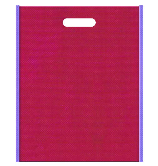 和風柄にお奨めの不織布小判抜き袋デザイン:メインカラー濃いピンク色とサブカラー薄紫色