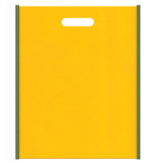 セミナー資料配布用のバッグにお奨めの 不織布小判抜き袋デザイン:メインカラー黄色、サブカラー草色