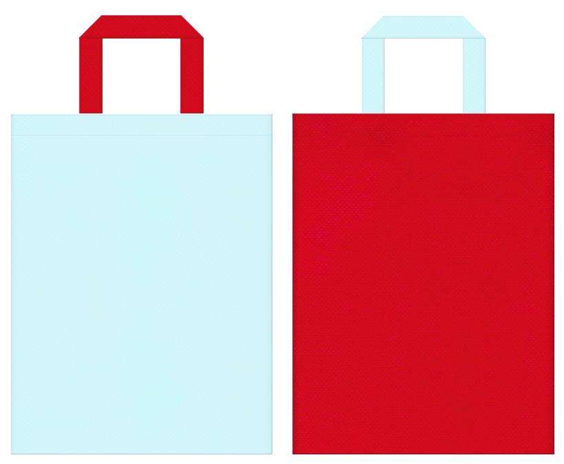 夏浴衣・風鈴・ビー玉・ガラス工芸・金魚すくい・すいか割り・かき氷・夏祭りにお奨めの不織布バッグデザイン:水色と紅色のコーディネート