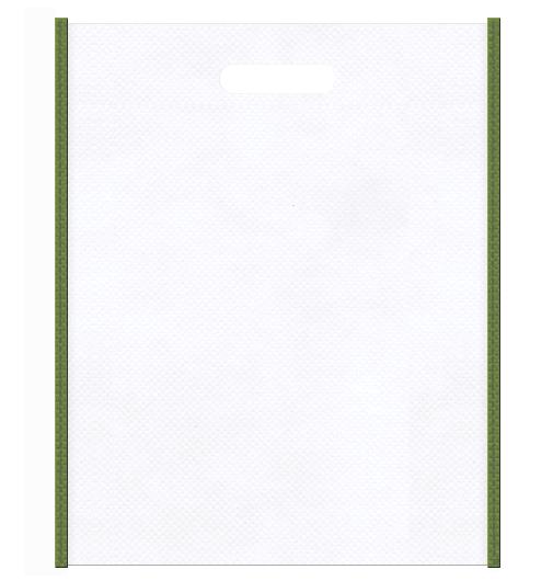 和風柄にお奨めです。不織布小判抜き袋のデザイン:メインカラー白色、サブカラー草色
