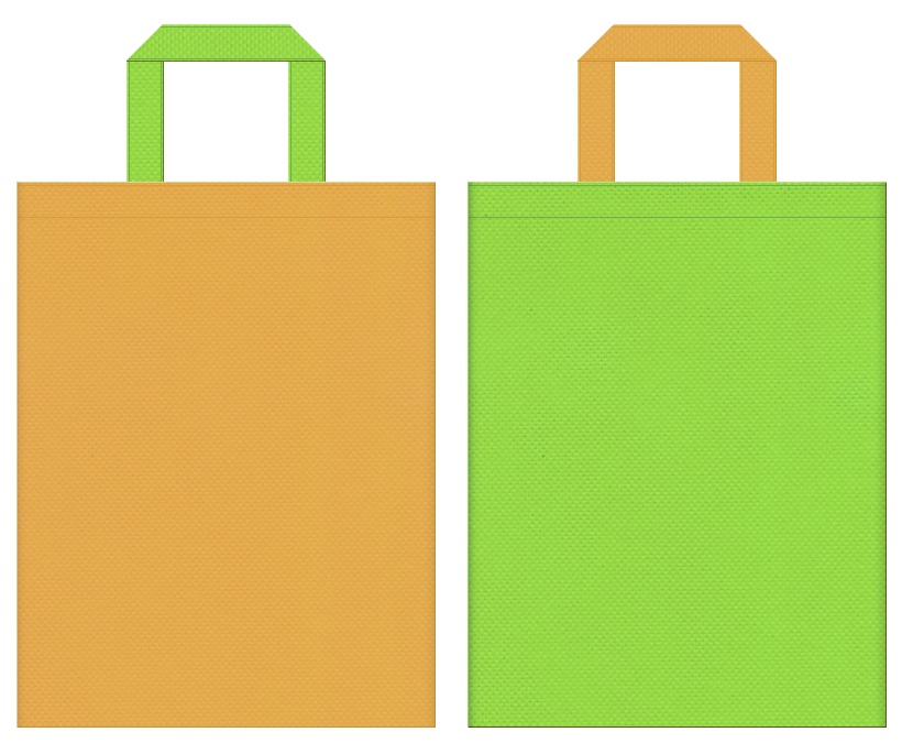 不織布バッグの印刷ロゴ背景レイヤー用デザイン:黄土色と黄緑色のコーディネート