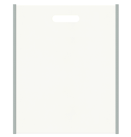 セミナー資料配布用のバッグにお奨めの不織布小判抜き袋デザイン:メインカラーオフホワイト色、サブカラーグレー色