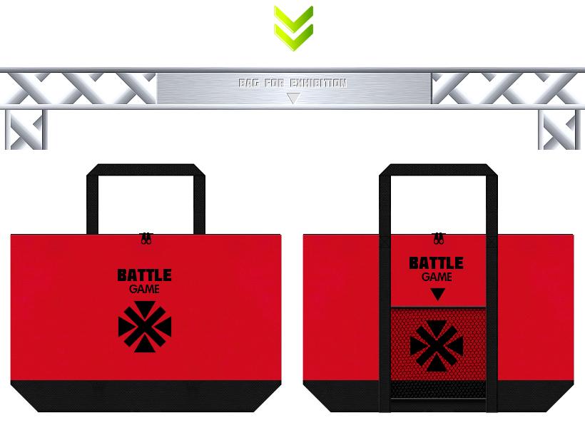 紅色と黒色の不織布バッグデザイン:格闘ゲームの展示会用バッグ