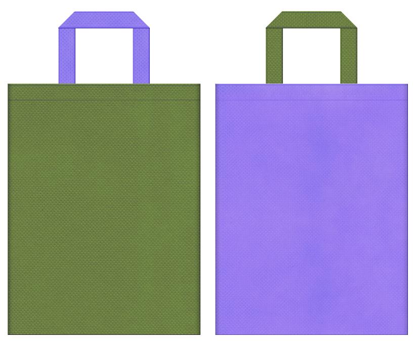 不織布バッグの印刷ロゴ背景レイヤー用デザイン:草色と薄紫色のコーディネート:花菖蒲を連想するイメージで生け花・茶会等の和風イベントにお奨めの配色です。
