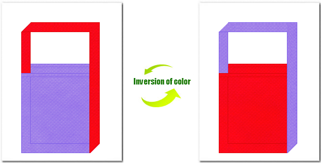 薄紫色と赤色の不織布ショルダーバッグのデザイン