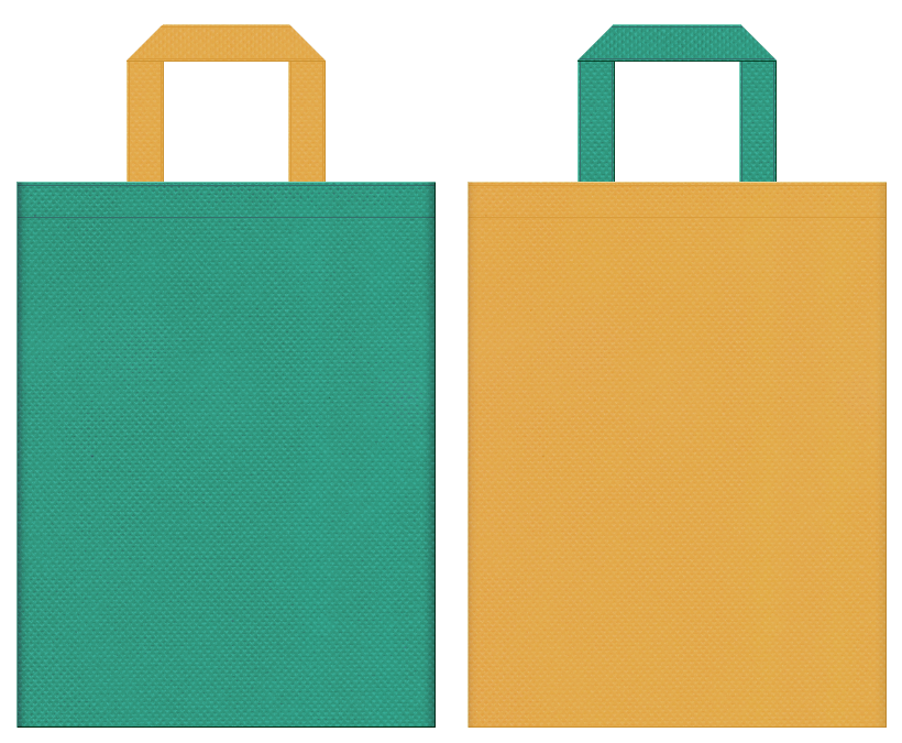 不織布バッグの印刷ロゴ背景レイヤー用デザイン:青緑色と黄土色のコーディネート:日曜雑貨・園芸用品の販促イベントにお奨めの配色です。