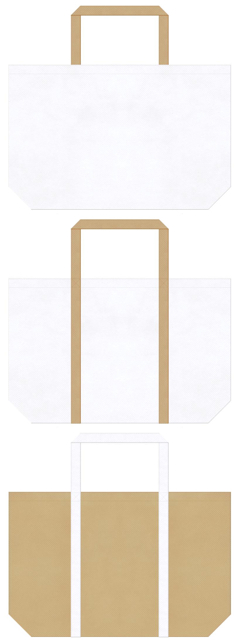白色とカーキ色の不織布ショッピングバッグデザイン
