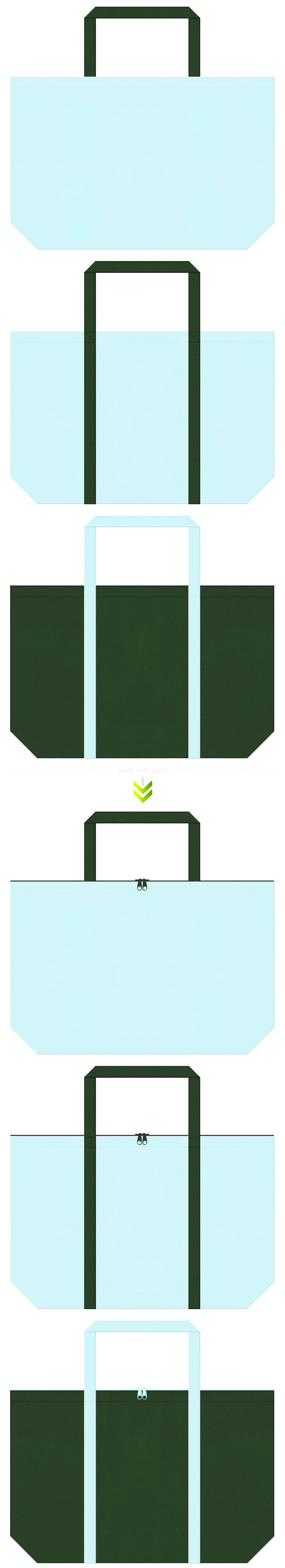 ミント・クール・CO2削減・環境イベント・医療機器・医薬品・歯科用品の展示会用バッグにお奨めの不織布バッグデザイン:水色と濃緑色のコーデ