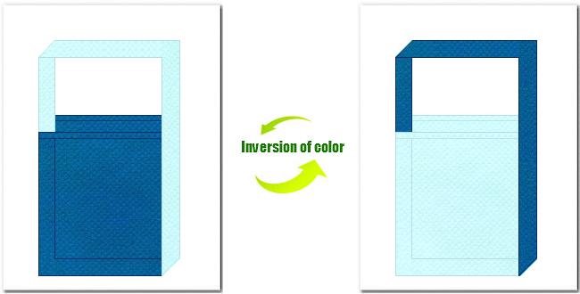 青色と水色の不織布ショルダーバッグのデザイン:水族館・マリンスポット・ビーチ用品の展示会用バッグにお奨めの配色です。