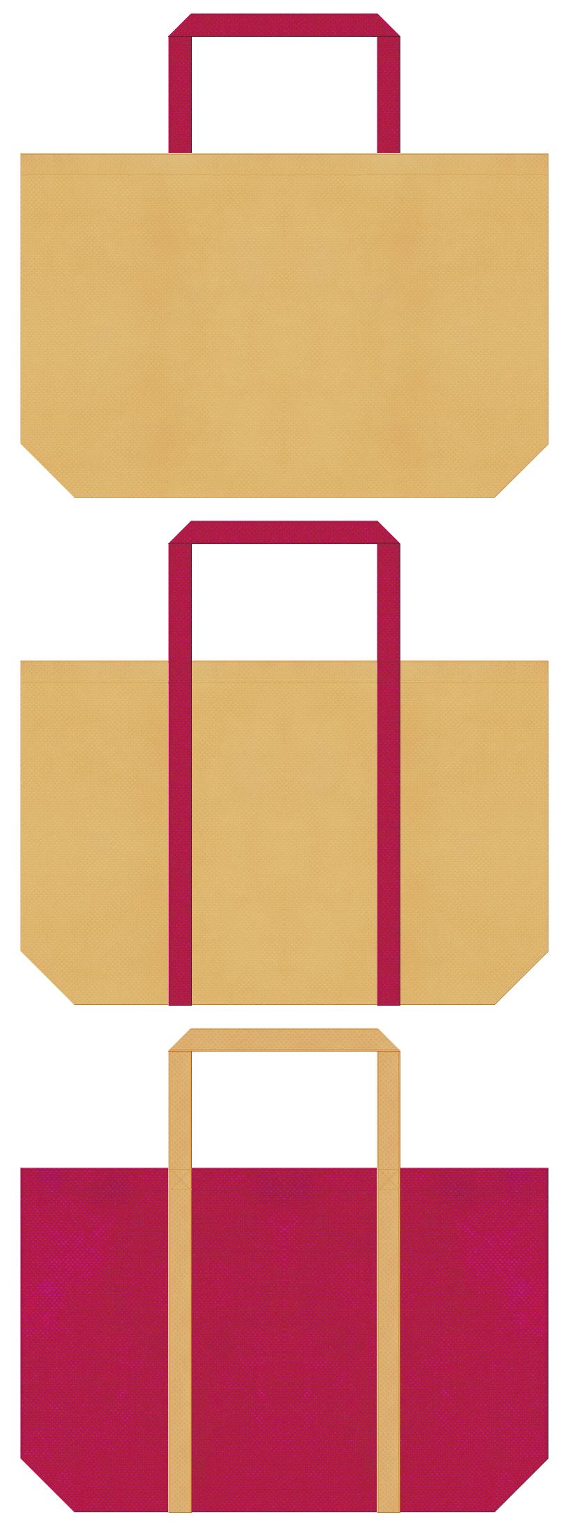 薄黄土色と濃いピンク色の不織布バッグデザイン。トロピカルイメージで、トラベルバッグのノベルティにお奨めです。
