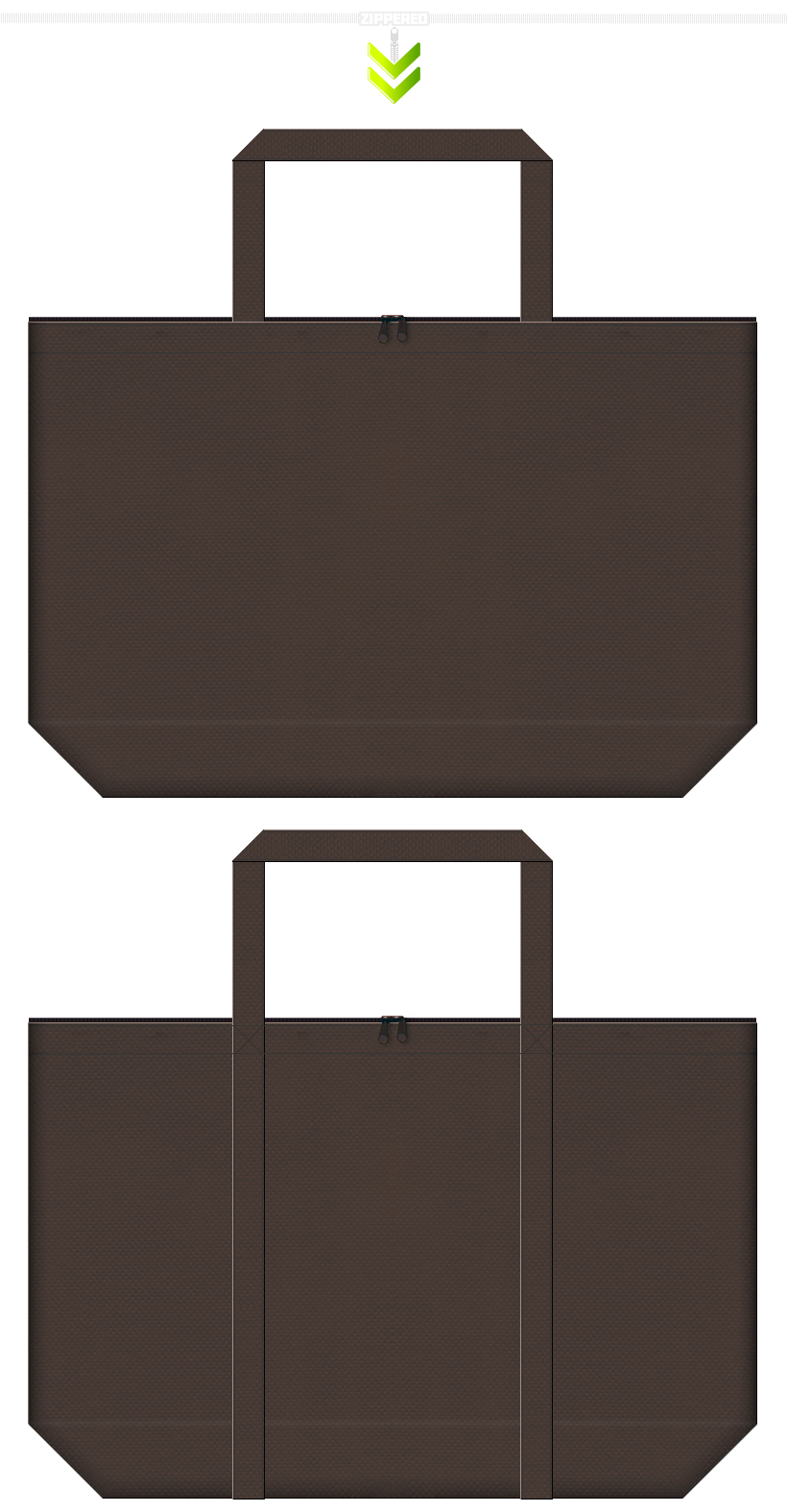 高級感・アンティーク・上品なショッピングバッグにお奨めの、こげ茶色を使用した不織布バッグ