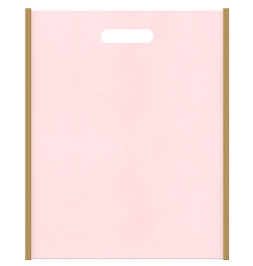ガーリーデザインにお奨めです。不織布小判抜き袋 メインカラー桜色とサブカラー金色系黄土色
