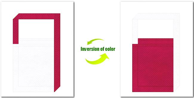 白色と濃いピンク色の不織布ショルダーバッグ