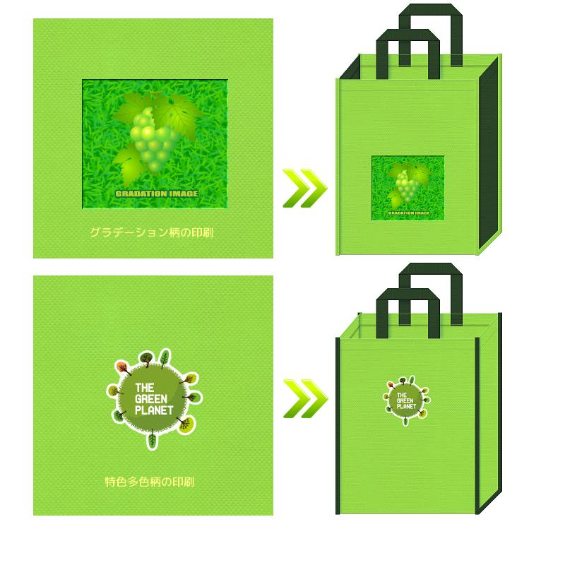オフセット印刷の転写でフルカラー印刷入りの不織布バッグの制作ができます。