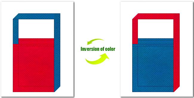 紅色と青色の不織布ショルダーバッグ