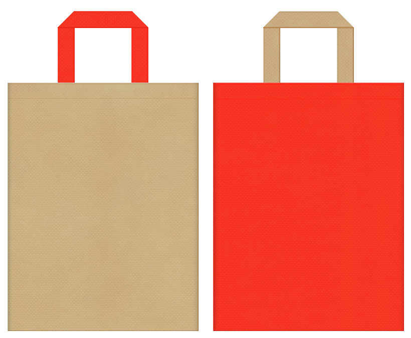 オニオンスープ・にんじん・サラダ油・調味料・お料理教室・ランチバッグにお奨めの不織布バッグデザイン:カーキ色とオレンジ色のコーディネート