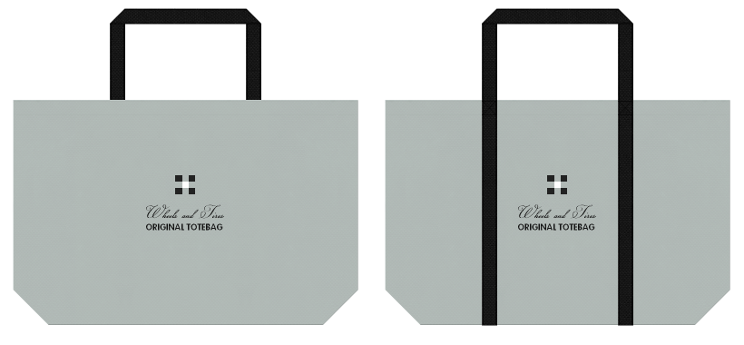 グレー色と黒色の不織布バッグのデザイン例:自動車用品の展示会用バッグ