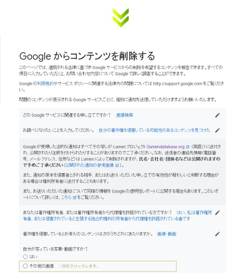 DMCAに基づいた対処・・・Googleからコンテンツを削除する依頼ページ.3