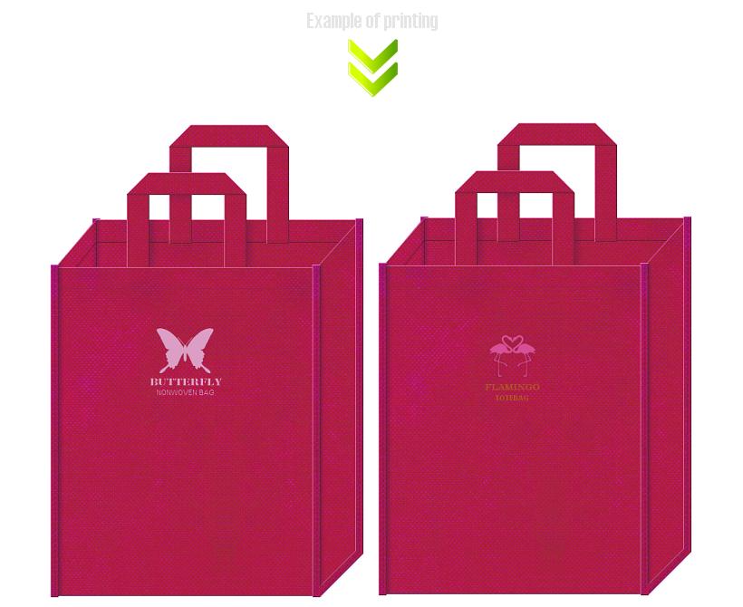 濃ピンク色の不織布バッグの印刷イメージ