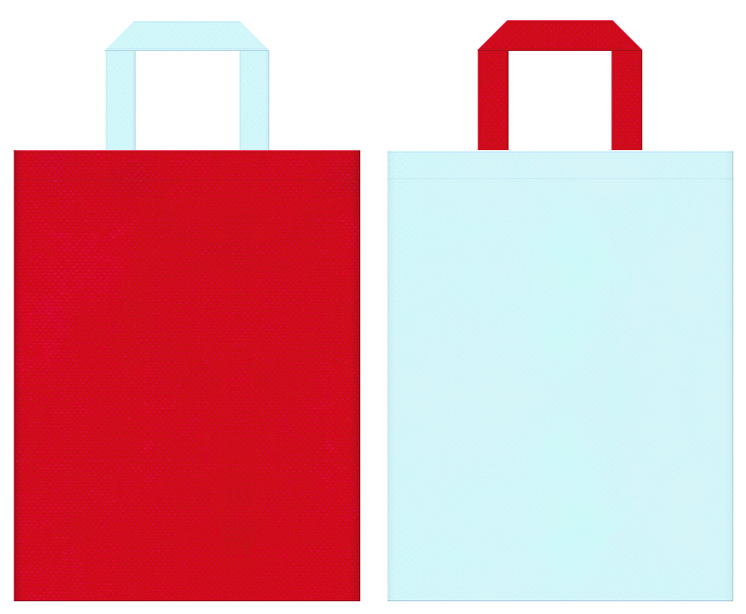 不織布バッグの印刷ロゴ背景レイヤー用デザイン:紅色と水色のコーディネート