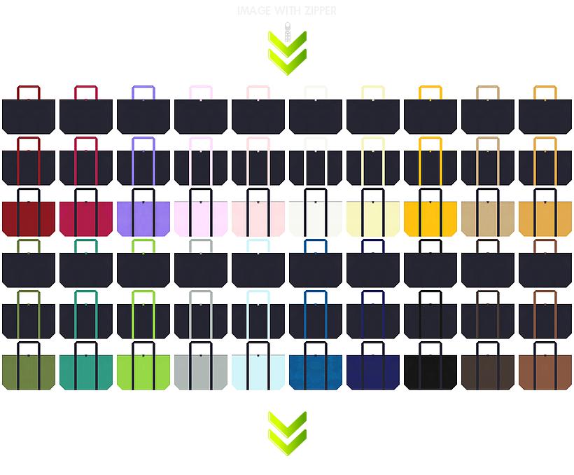 ゲームの展示会用バッグ・スポーツ用品のショッピングバッグ・トラベルバッグ・ランドリーバッグにお奨めの、ファスナー付き不織布バッグのデザイン:濃紺色のコーデ86例