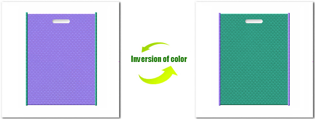 不織布小判抜き袋:No.32ミディアムパープルとNo.31ライムグリーンの組み合わせ