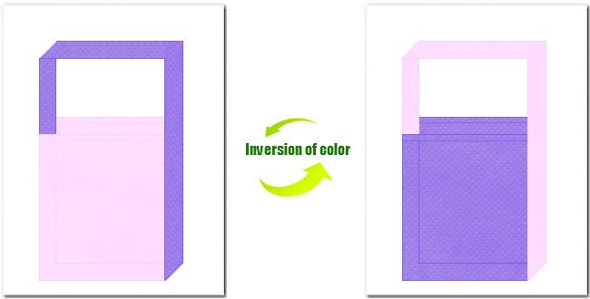 明ピンク色と薄紫色の不織布ショルダーバッグのデザイン