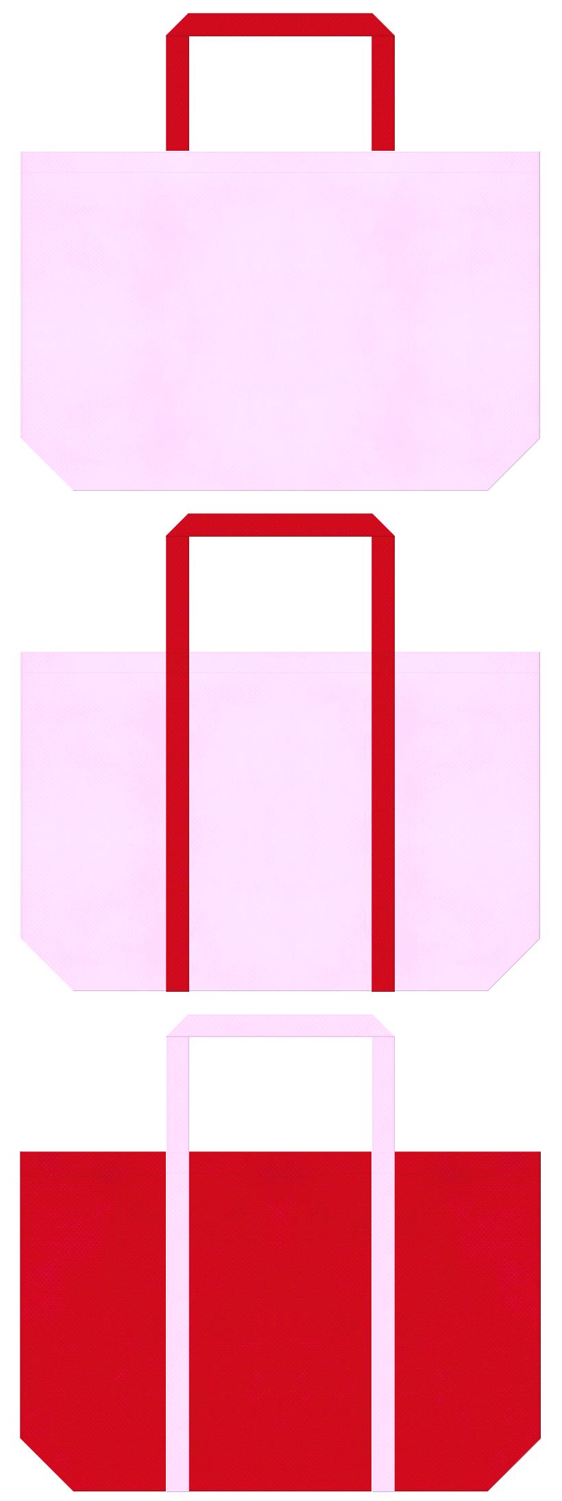 明るいピンク色と紅色の不織布ショッピングバッグデザイン