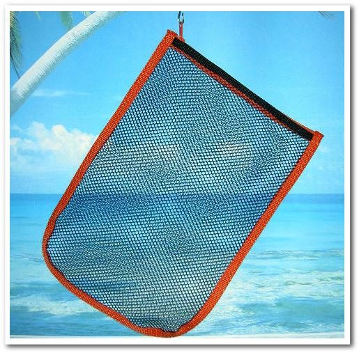 メッシュポーチ(カラーテープのバイヤス巻き縫製の事例)