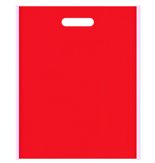 母の日ギフト・バレンタインにお奨めの不織布小判抜き袋のデザイン。メインカラー明るめのピンク色とサブカラー赤色の色反転
