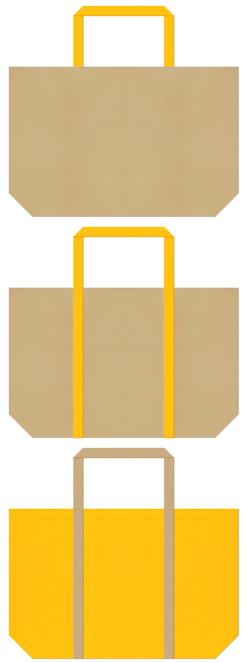 はちみつ・バター・マロンケーキ・スイーツ・ベーカリーのショッピングバッグにお奨めの不織布バッグデザイン:カーキ色と黄色のコーデ