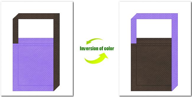 薄紫色とこげ茶色の不織布ショルダーバッグのデザイン