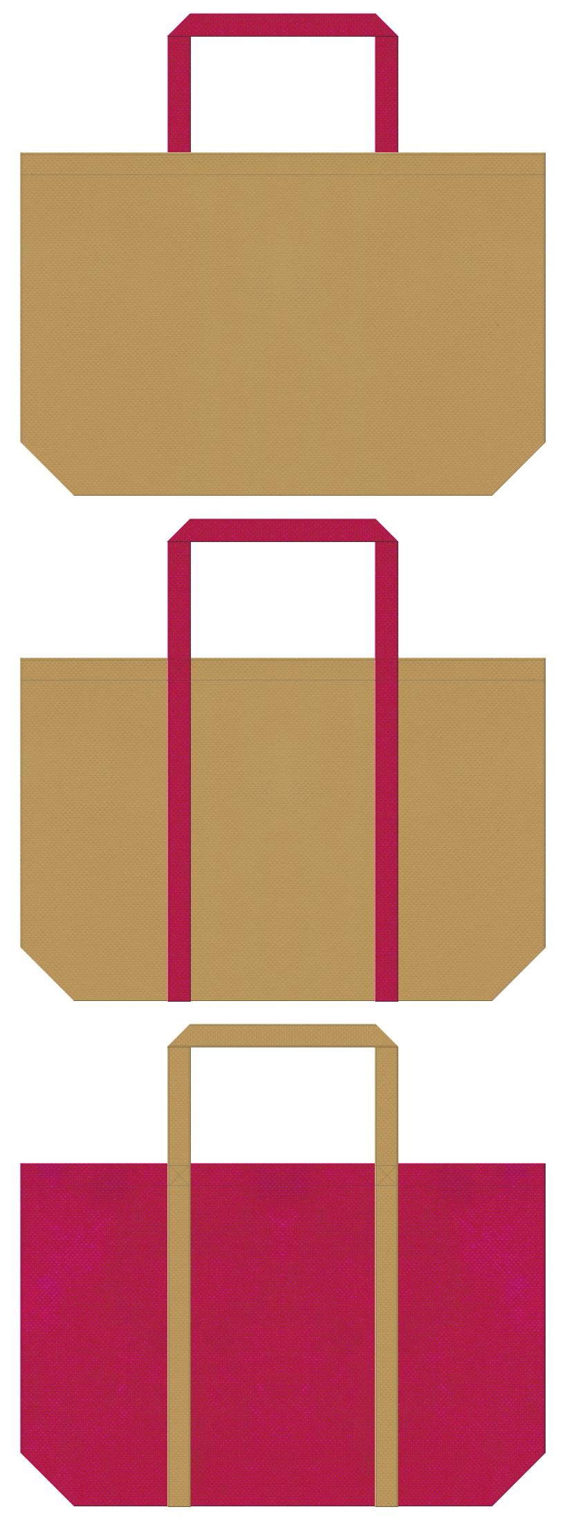 金色系黄土色と濃いピンク色の不織布ショッピングバッグデザイン。